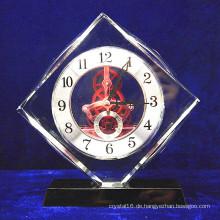 Hochwertiges Kristallglas Quadrat Uhr Büro Dekoration