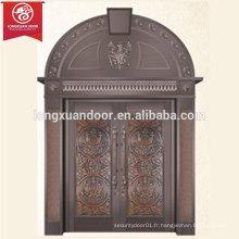 Porte de bronze à usage commercial ou résidentiel, porte en cuivre antiquaire haut en arche