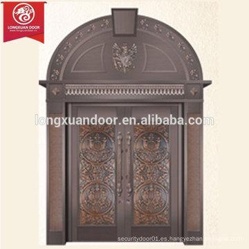 Puerta de bronce comercial o residencial, Puerta de cobre antiguo con tapa arqueada