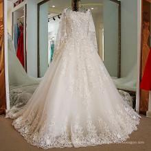 LS47706 Real muslim coberto corset laço berta cinderela vestido de noiva manga longa