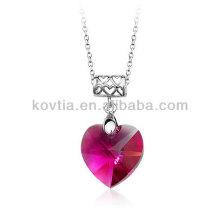 Atacado coração barato pingente de cristal pingente de rubi