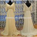 New Model Long Sleeve Chiffon Satin Bridal Wedding Dresses Empire Waist With Glass Crystal