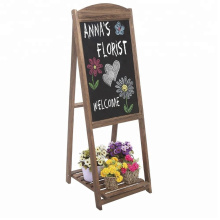Rustic Wood A-Frame Easel Chalkboard Erasable Memo Board  with Shelf