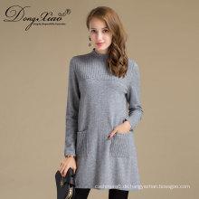 Damen langes Kleid Pullover Merino Wolle Pullover für den Winter Frühling Herbst