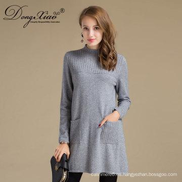 Suéter largo de las lanas merino del jersey del vestido de las mujeres para el otoño de la primavera del invierno