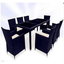 9PCS schwarze und braune Wicker Esszimmermöbel Set