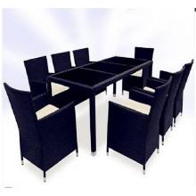 9PCS черный и коричневый Плетеный обеденный набор мебели