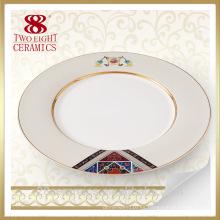 Banquete al por mayor plateado, placas de cena usadas hotel, platos de porcelana para el restaurante