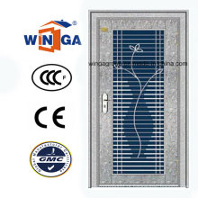 Entrada impermeável Porta de segurança de aço inoxidável de vidro (W-GH-10)