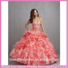 HQ140 Professional supplier peach color sweetheart neckline beaded top ruffled organza ball gown big ladylike quinceanera dress