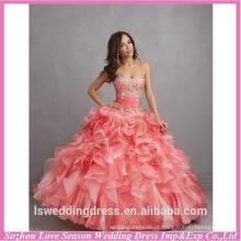 HQ140 Profissional fornecedor pêssego cor querido decote bordado superior arruinado organza vestido de bola grande ladylike vestido quinceanera