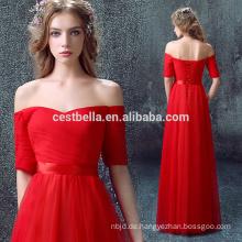 Red Off Schulter Kurzarm V-Ausschnitt Partykleid Abendkleid
