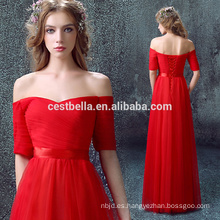 Rojo de hombro de manga corta cuello en V vestido de fiesta vestido de noche