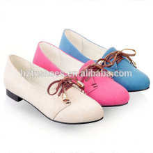 Fashion casual women flats shoes soft plain round toe flat women shoes lace-up women sneakers