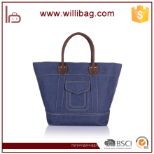 Top Quality Handbag Genuine Leather With Durable Canvas Tote Bag