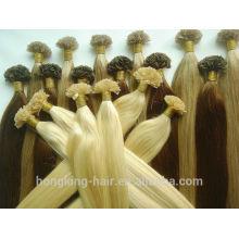 Extensiones de punta plana Remy para el cabello europeo