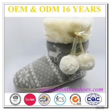 Doublure en laine de dentelle faux chaude supérieure en tricot Semelle extérieure TPR