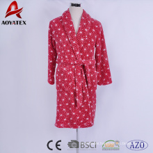 Soft flannel fleece printed beautiful red women bath robe