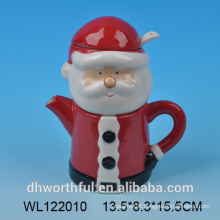 Santa claus ceramic milk jug and sugar with spoon