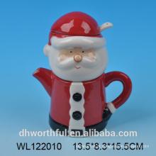 Santa, claus, cerâmico, leite, jarro, açúcar, colher
