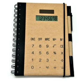 Brown Paper Hardcover Excutive Notebook Calculator with Pen