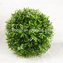 decorative PE 30cm artificial grass ball with white flower