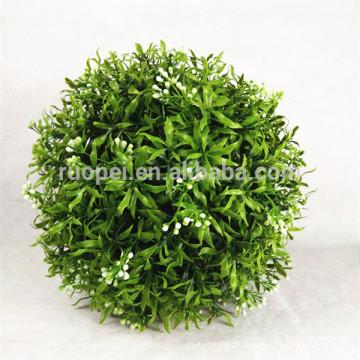 boule de gazon artificiel décoratif PE 30cm avec fleur blanche