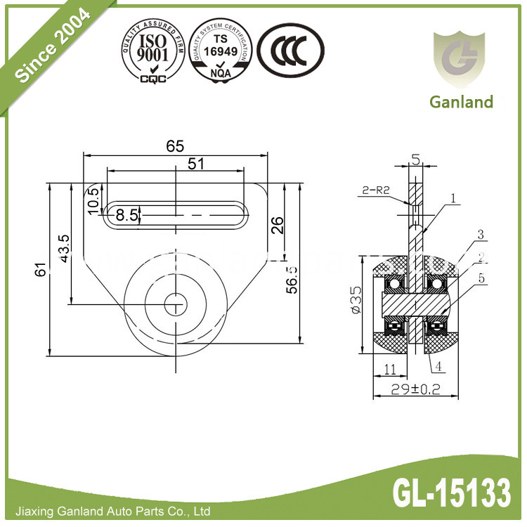tapered wheel-strap mount design GL-15133