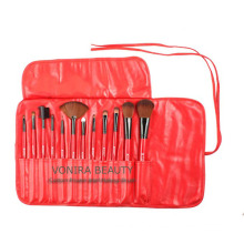 Professional 13-Piece Cosmetic Brush Set with Pouch, Set of 12 Brushes and 1 Pouch, Red