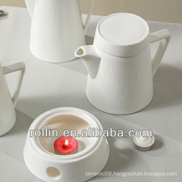 Graceful design restaurant used tea pot with warmer, coffee pot with warmer, porcelain pot with warmer