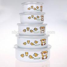 5 Stück Emailleware Fruchtreifung Schüssel für Essen wärmer
