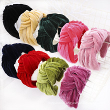 bande cheveux tali rambut Velvet Stretch Flannel Knotted Headband Hairband Women Girl Hair Accessories Gold Fabric Solid Color