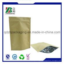 Stehen Sie oben Reißverschluss-Beutel-Brown-Kraftpapier-Beutel für getrocknete Nahrungsmittelverpackung