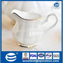 Chá de alta qualidade conjunto pote de leite acessório, pote de leite branco porcelana fina