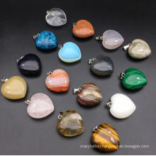 Fashion Heart Shaped Stone Pendants Crystal Chakra Beads for DIY Necklace Earring Keyring Jewelry