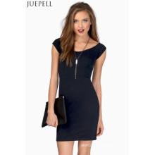 Vestido sin mangas de las mujeres de la manera del cortocircuito del paquete delgado falda de la cadera mini vestido