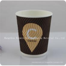 Copo de papel descartável de coordenação dos projetos do café com tampa