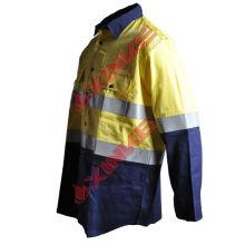camisa de dois tons de algodão repelente de insetos para a segurança de mineração