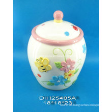 Hand-Painted Ceramic Storage Jar with Butterfly Decoration