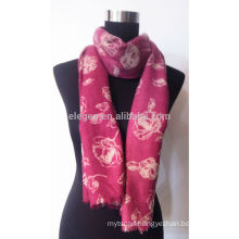 100% Wool Rose Pattern Scarf with Fringe