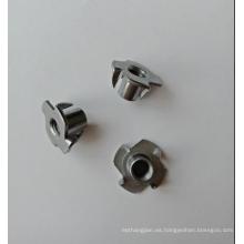 4 puntas de acero al carbono liso M6x10 T-Nuts