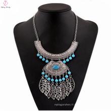 Collier pendentif en pierre naturelle gothique Big collier, collier de déclaration en argent Lady collier