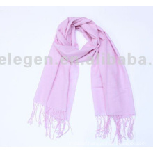 100% FINE WOOL PLAIN DYED STOLE SCARF WITH TASSEL