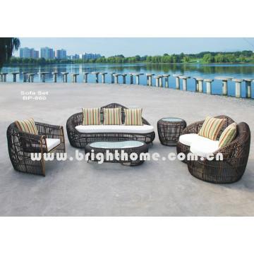 Ronda de mimbre de ratán sofá de muebles al aire libre conjunto Bp-860