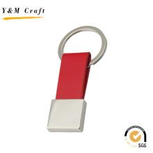 Logotipo de marca de couro de metal personalizado chaveiro (y02035)