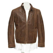 Brown leather jacket for man