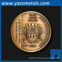 customize metal coins, custom high quality person replica coin with antique brass plating
