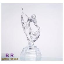 Estatua de niña bailando de vidrio para la decoración del hogar