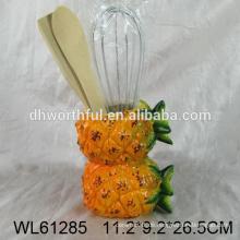 Küchenzubehör keramischer Utensilienhalter mit doppelter Ananas überlappender Form