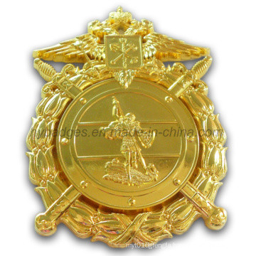 Golden Uniform Badge with Safety Pin Clutch (GZHY-BADGE-001)